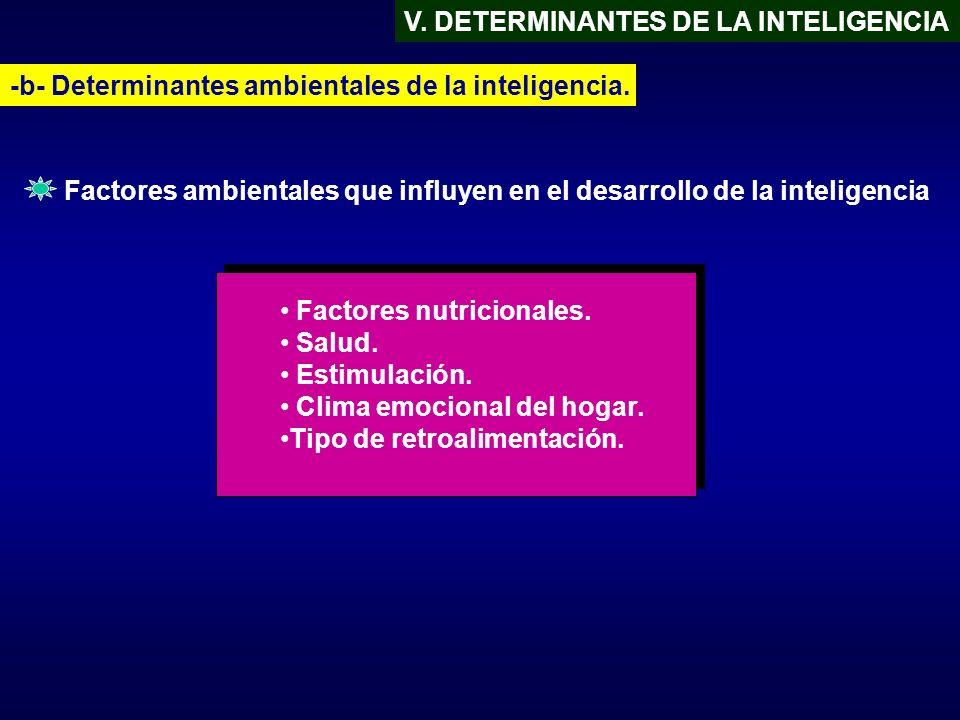 V. DETERMINANTES DE LA INTELIGENCIA -b- Determinantes ambientales de la inteligencia. Factores nutricionales. Salud. Estimulación. Clima emocional del
