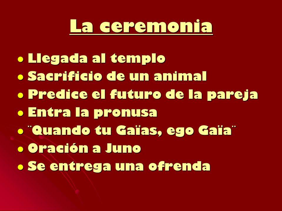 La ceremonia Llegada al templo Llegada al templo Sacrificio de un animal Sacrificio de un animal Predice el futuro de la pareja Predice el futuro de l