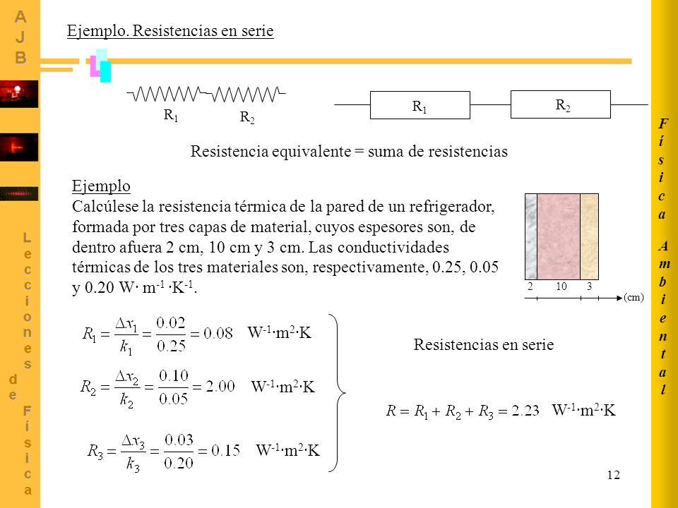 12 Ejemplo. Resistencias en serie R1R1 R2R2 Resistencia equivalente = suma de resistencias Ejemplo Calcúlese la resistencia térmica de la pared de un