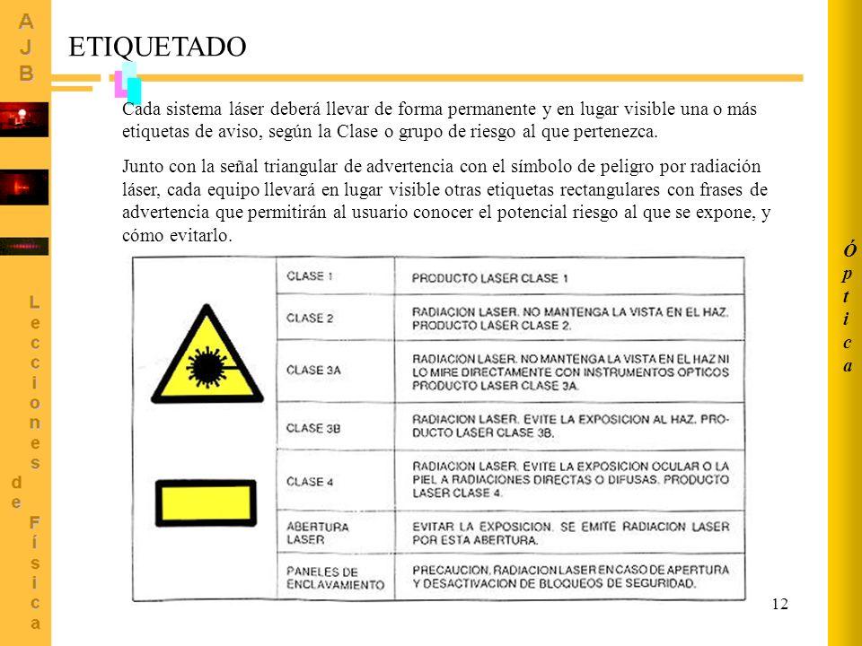 12 ETIQUETADO Cada sistema láser deberá llevar de forma permanente y en lugar visible una o más etiquetas de aviso, según la Clase o grupo de riesgo a