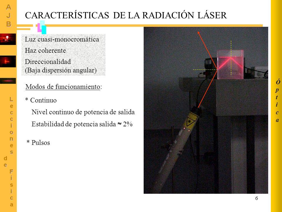 6 CARACTERÍSTICAS DE LA RADIACIÓN LÁSER Luz cuasi-monocromática Haz coherente Direccionalidad (Baja dispersión angular) Modos de funcionamiento: * Con