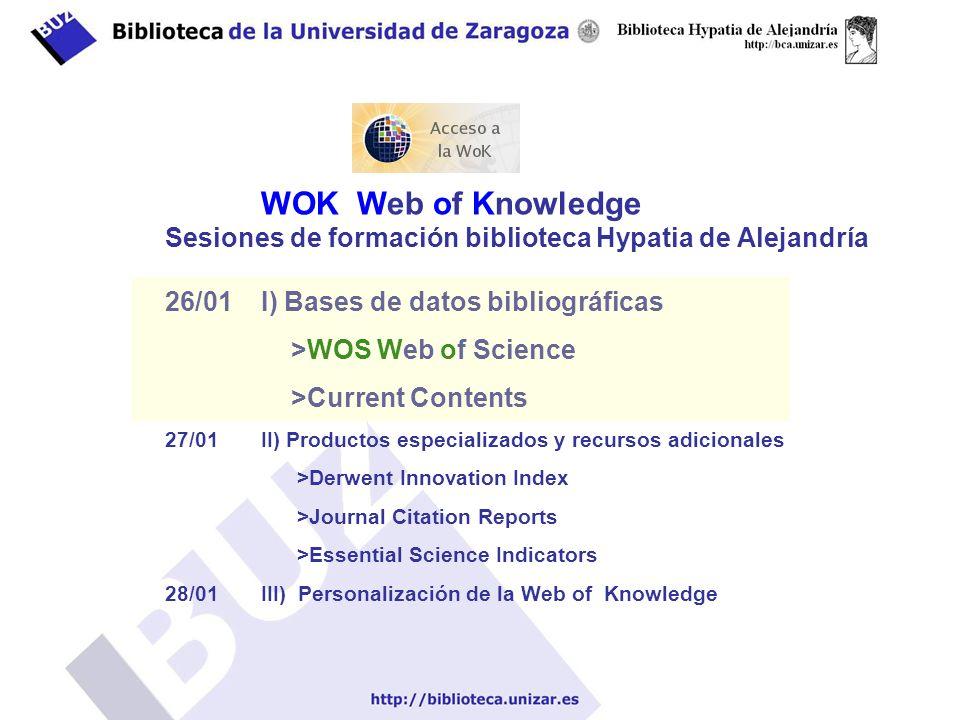 Select a Database – Web of Science - Selecciona e Indexa las publicaciones más importantes del mundo (criterios de selección en http://isiwebofknowledge.com/benefits/essays/journalselection/ )http://isiwebofknowledge.com/benefits/essays/journalselection/ - Multidisciplinar.