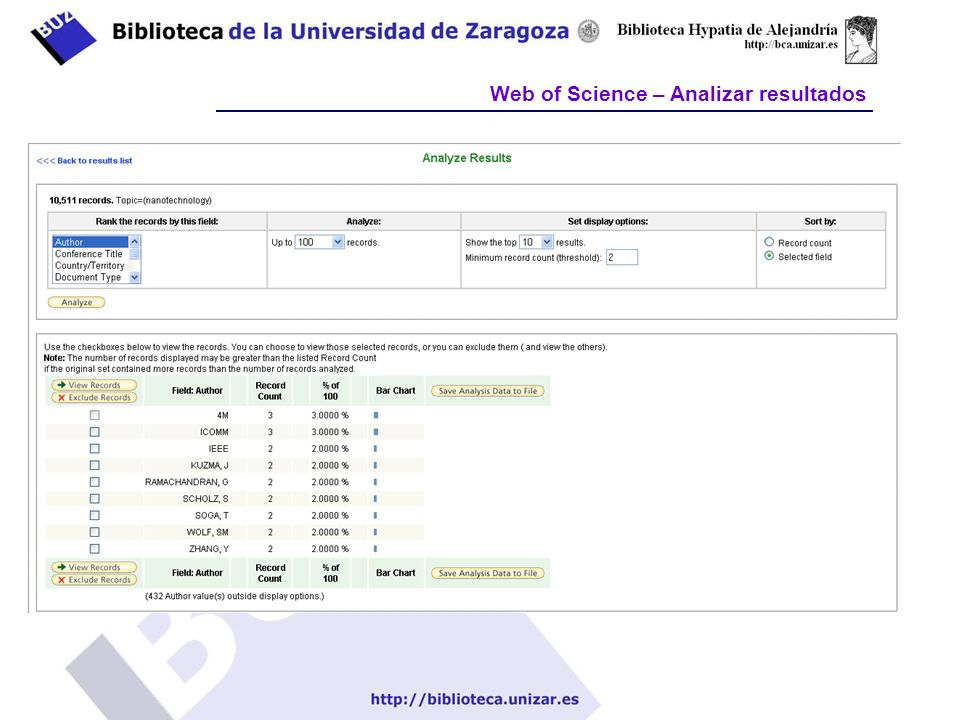 Web of Science – Analizar resultados