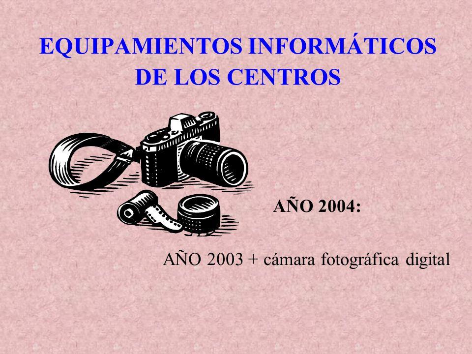 EQUIPAMIENTOS INFORMÁTICOS DE LOS CENTROS AÑO 2004: AÑO 2003 + cámara fotográfica digital