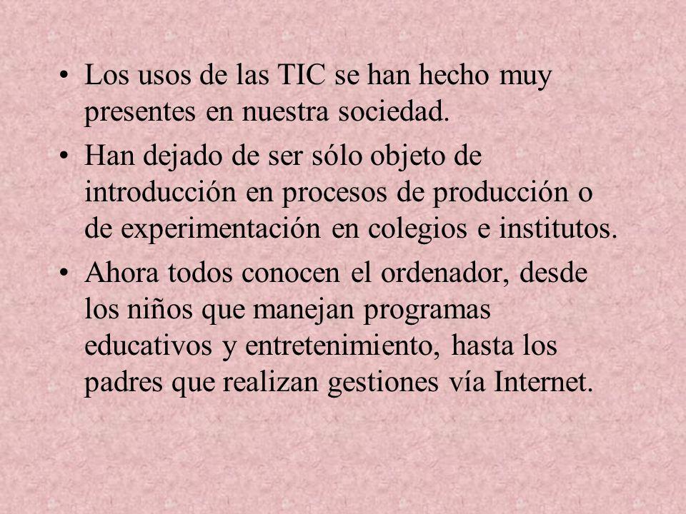 Los usos de las TIC se han hecho muy presentes en nuestra sociedad.