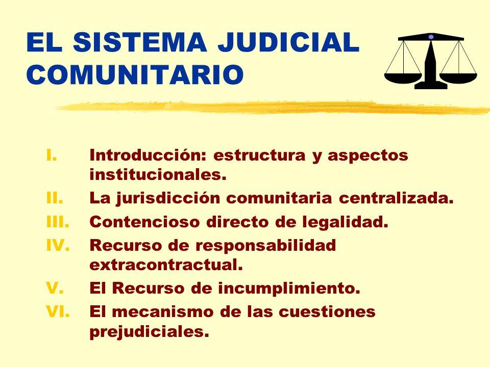 EL SISTEMA JUDICIAL COMUNITARIO I.Introducción: estructura y aspectos institucionales. II.La jurisdicción comunitaria centralizada. III.Contencioso di