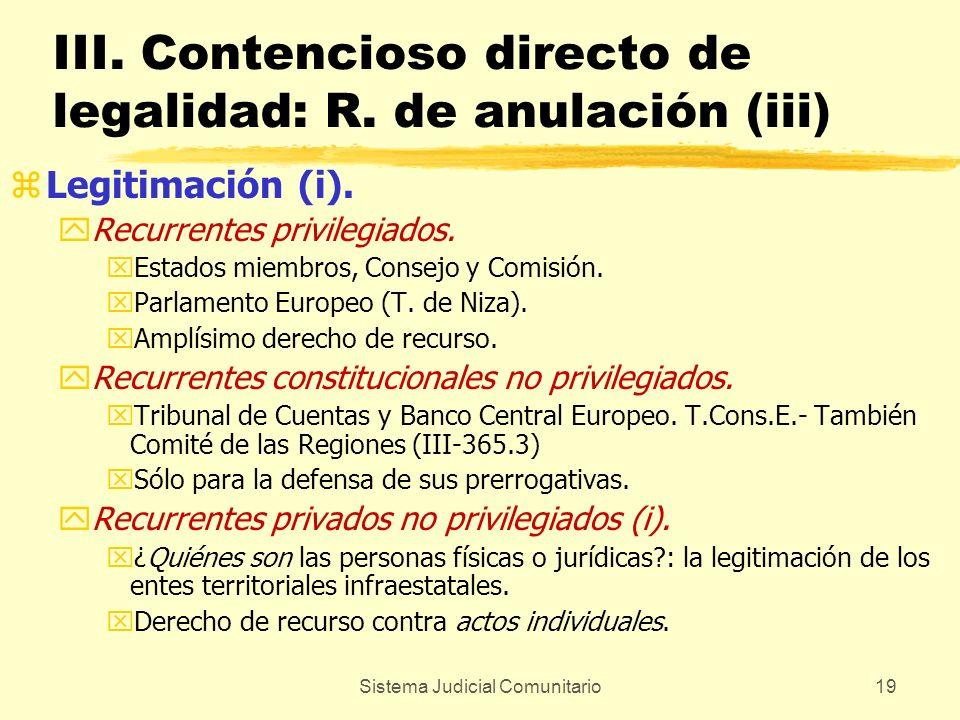 Sistema Judicial Comunitario19 III. Contencioso directo de legalidad: R. de anulación (iii) zLegitimación (i). yRecurrentes privilegiados. xEstados mi