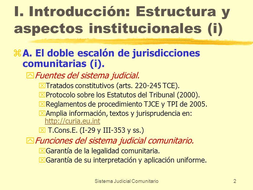Sistema Judicial Comunitario2 I. Introducción: Estructura y aspectos institucionales (i) zA. El doble escalón de jurisdicciones comunitarias (i). yFue