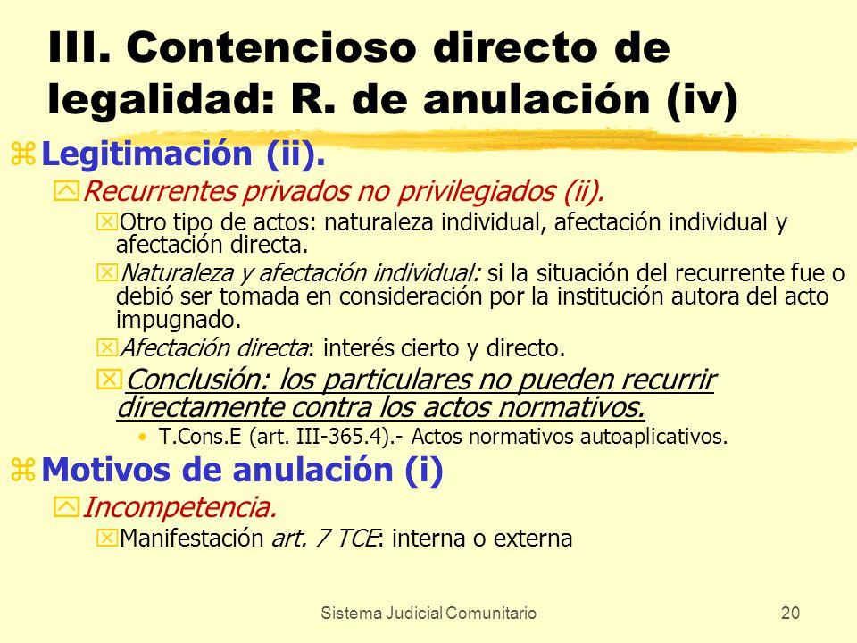 Sistema Judicial Comunitario20 III. Contencioso directo de legalidad: R. de anulación (iv) zLegitimación (ii). yRecurrentes privados no privilegiados