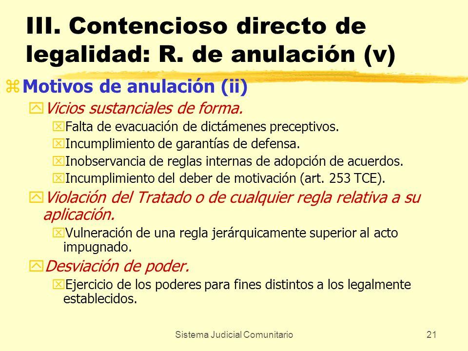 Sistema Judicial Comunitario21 III. Contencioso directo de legalidad: R. de anulación (v) zMotivos de anulación (ii) yVicios sustanciales de forma. xF