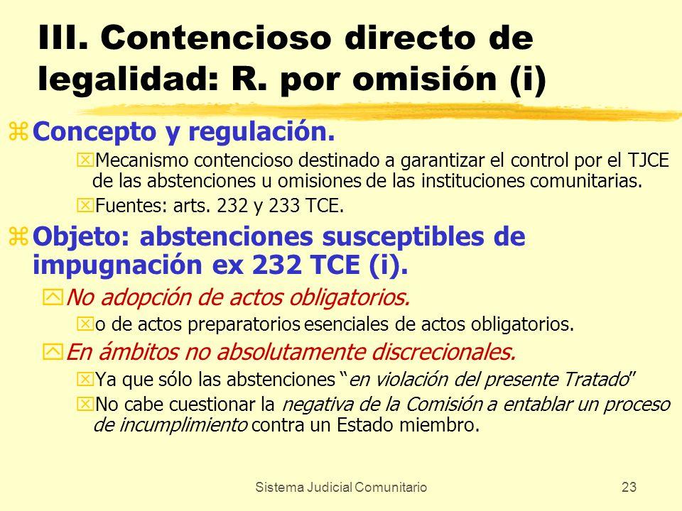 Sistema Judicial Comunitario23 III. Contencioso directo de legalidad: R. por omisión (i) zConcepto y regulación. xMecanismo contencioso destinado a ga