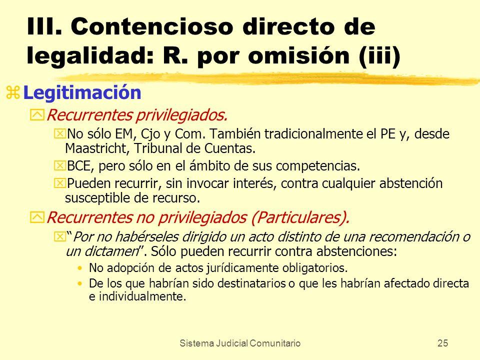 Sistema Judicial Comunitario25 III. Contencioso directo de legalidad: R. por omisión (iii) zLegitimación yRecurrentes privilegiados. xNo sólo EM, Cjo