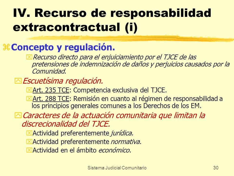 Sistema Judicial Comunitario30 IV. Recurso de responsabilidad extracontractual (i) zConcepto y regulación. xRecurso directo para el enjuiciamiento por