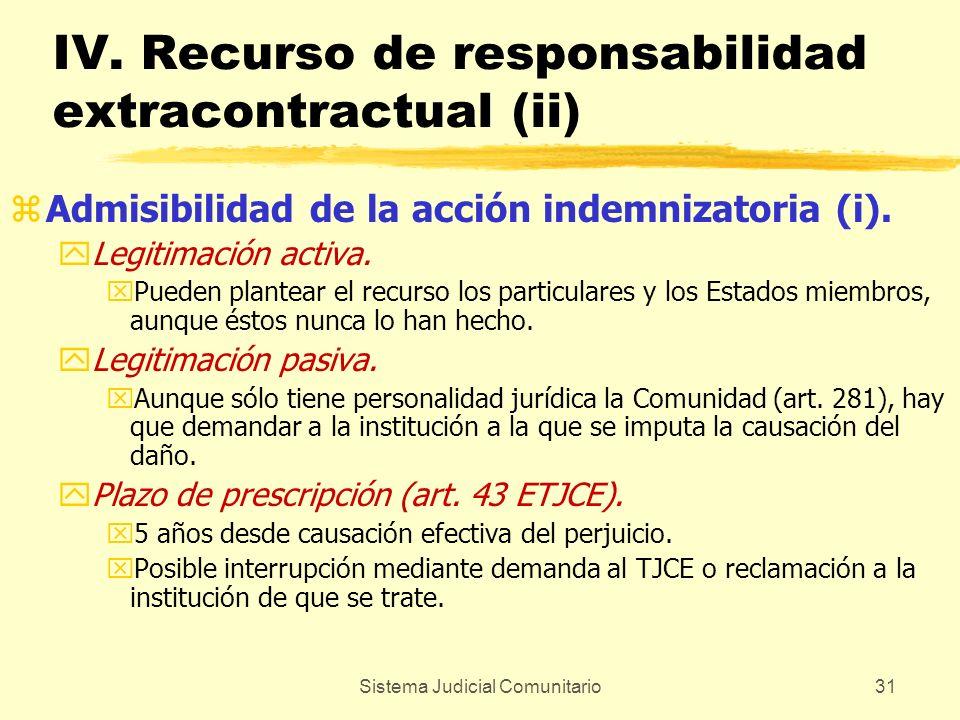 Sistema Judicial Comunitario31 IV. Recurso de responsabilidad extracontractual (ii) zAdmisibilidad de la acción indemnizatoria (i). yLegitimación acti