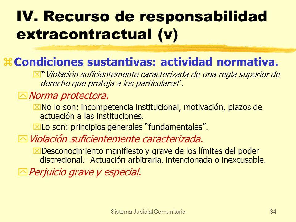 Sistema Judicial Comunitario34 IV. Recurso de responsabilidad extracontractual (v) zCondiciones sustantivas: actividad normativa. xViolación suficient