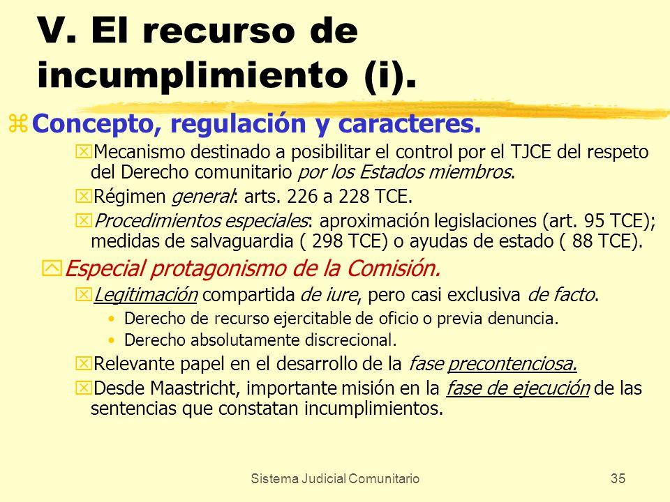 Sistema Judicial Comunitario35 V. El recurso de incumplimiento (i). zConcepto, regulación y caracteres. xMecanismo destinado a posibilitar el control