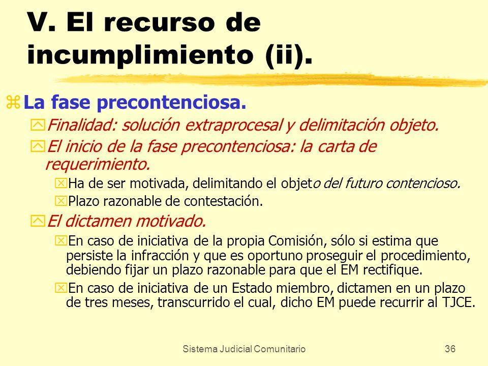 Sistema Judicial Comunitario36 V. El recurso de incumplimiento (ii). zLa fase precontenciosa. yFinalidad: solución extraprocesal y delimitación objeto