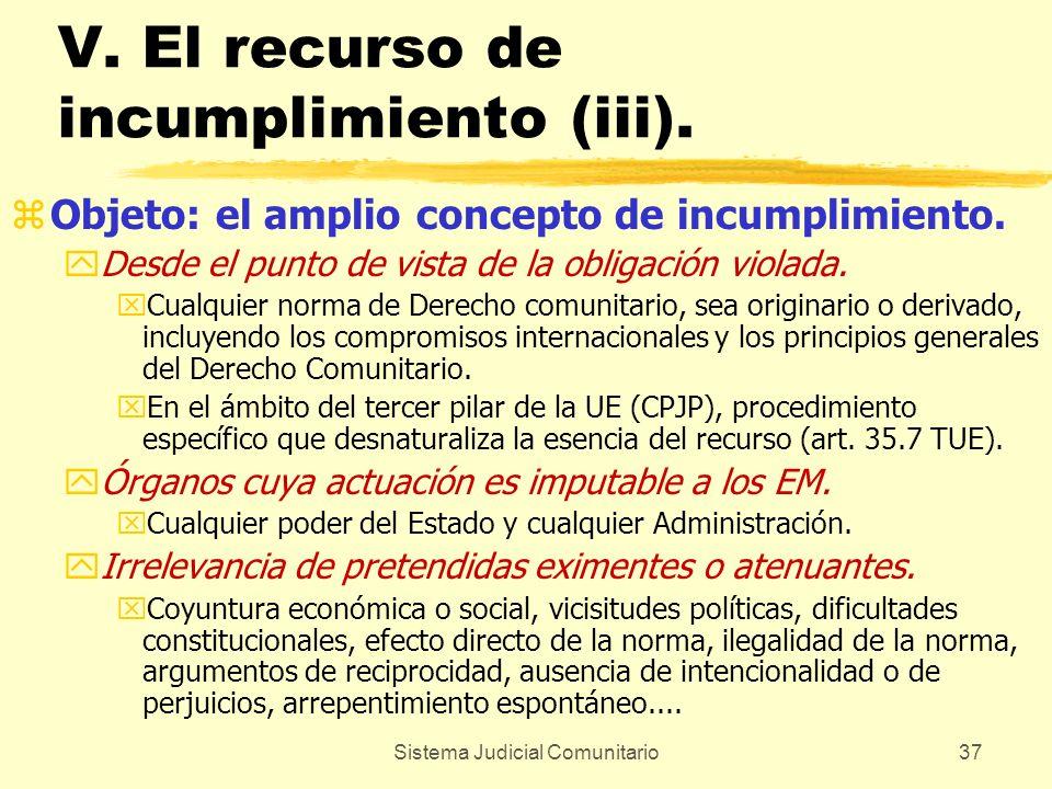 Sistema Judicial Comunitario37 V. El recurso de incumplimiento (iii). zObjeto: el amplio concepto de incumplimiento. yDesde el punto de vista de la ob