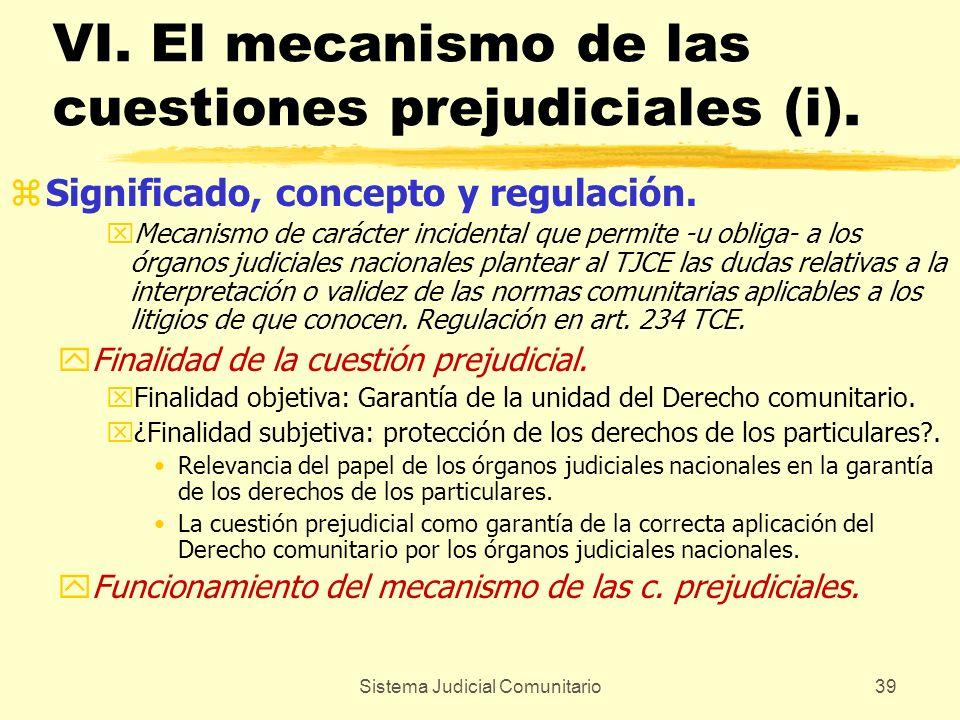 Sistema Judicial Comunitario39 VI. El mecanismo de las cuestiones prejudiciales (i). zSignificado, concepto y regulación. xMecanismo de carácter incid