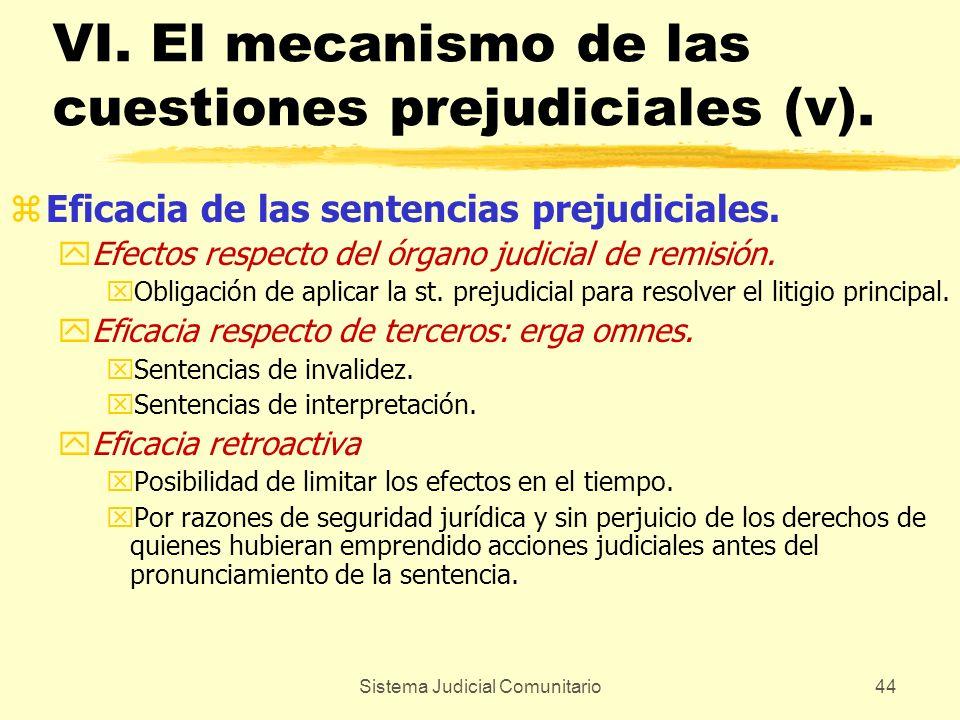 Sistema Judicial Comunitario44 VI. El mecanismo de las cuestiones prejudiciales (v). zEficacia de las sentencias prejudiciales. yEfectos respecto del