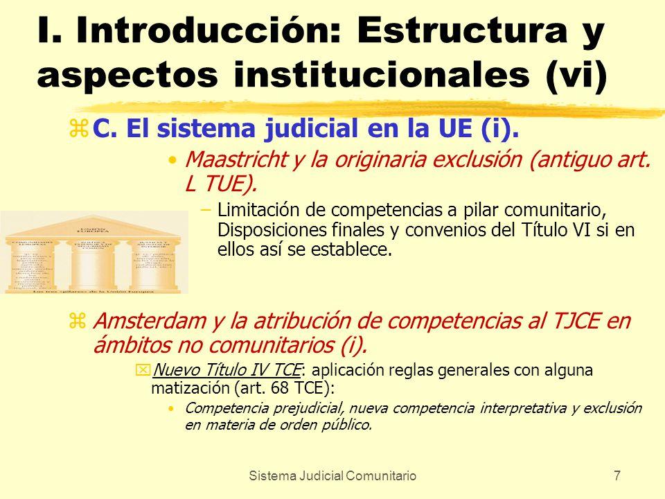 Sistema Judicial Comunitario7 I. Introducción: Estructura y aspectos institucionales (vi) zC. El sistema judicial en la UE (i). Maastricht y la origin