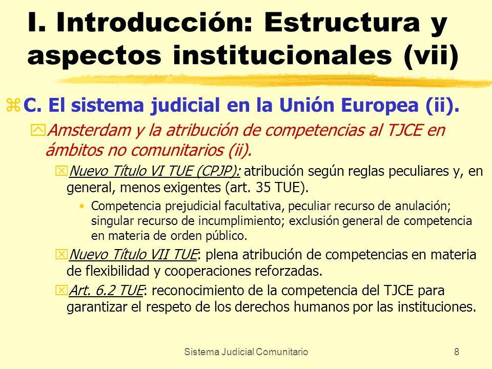 Sistema Judicial Comunitario8 I. Introducción: Estructura y aspectos institucionales (vii) zC. El sistema judicial en la Unión Europea (ii). yAmsterda