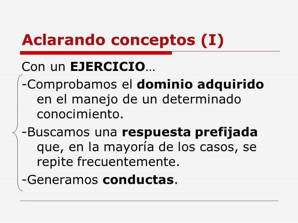Aclarando conceptos (I) Con un EJERCICIO… -Comprobamos el dominio adquirido en el manejo de un determinado conocimiento. -Buscamos una respuesta prefi