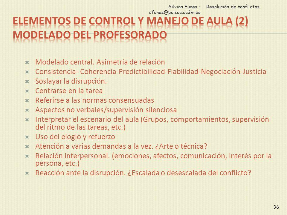 Modelado central. Asimetría de relación Consistencia- Coherencia-Predictibilidad-Fiabilidad-Negociación-Justicia Soslayar la disrupción. Centrarse en