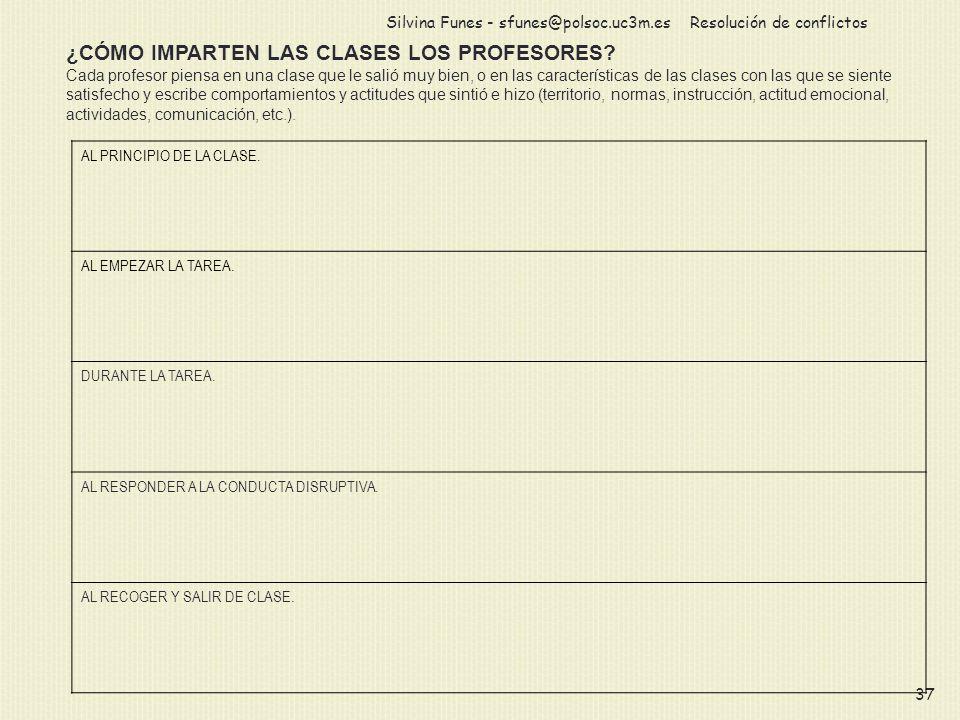 Resolución de conflictosSilvina Funes - sfunes@polsoc.uc3m.es 37 ¿CÓMO IMPARTEN LAS CLASES LOS PROFESORES? Cada profesor piensa en una clase que le sa