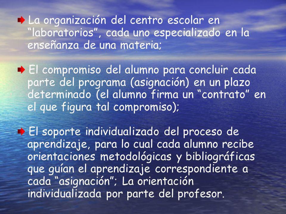 La organización del centro escolar en laboratorios, cada uno especializado en la enseñanza de una materia; El compromiso del alumno para concluir cada