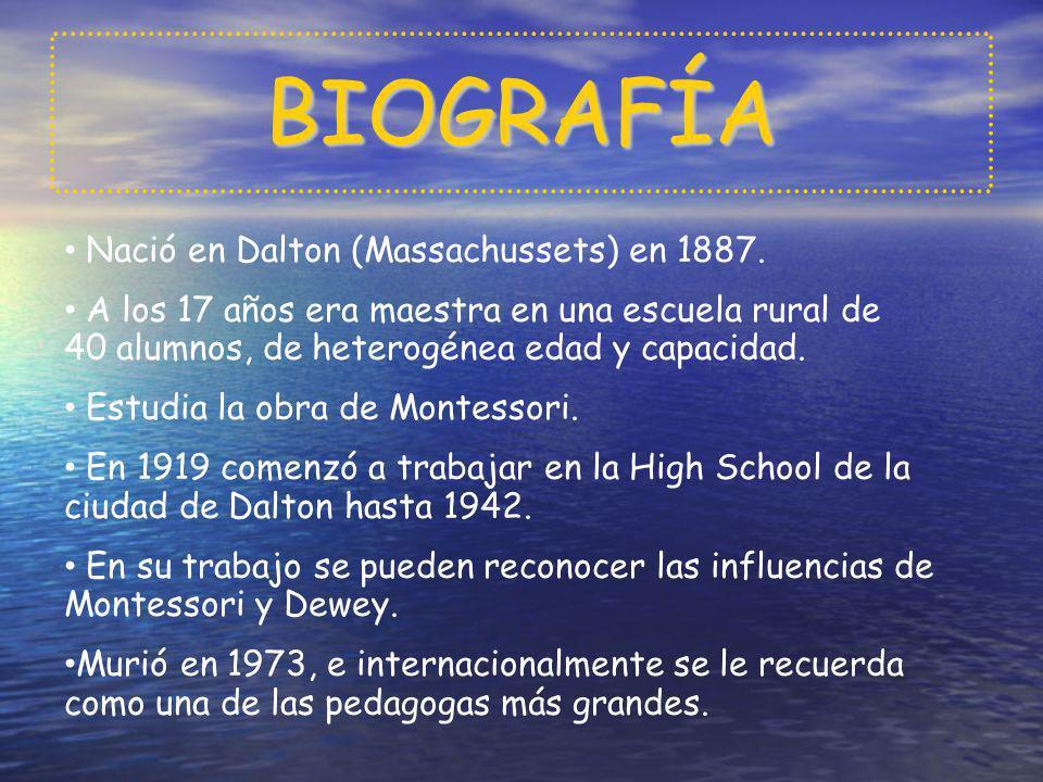 BIOGRAFÍA Nació en Dalton (Massachussets) en 1887. A los 17 años era maestra en una escuela rural de 40 alumnos, de heterogénea edad y capacidad. Estu