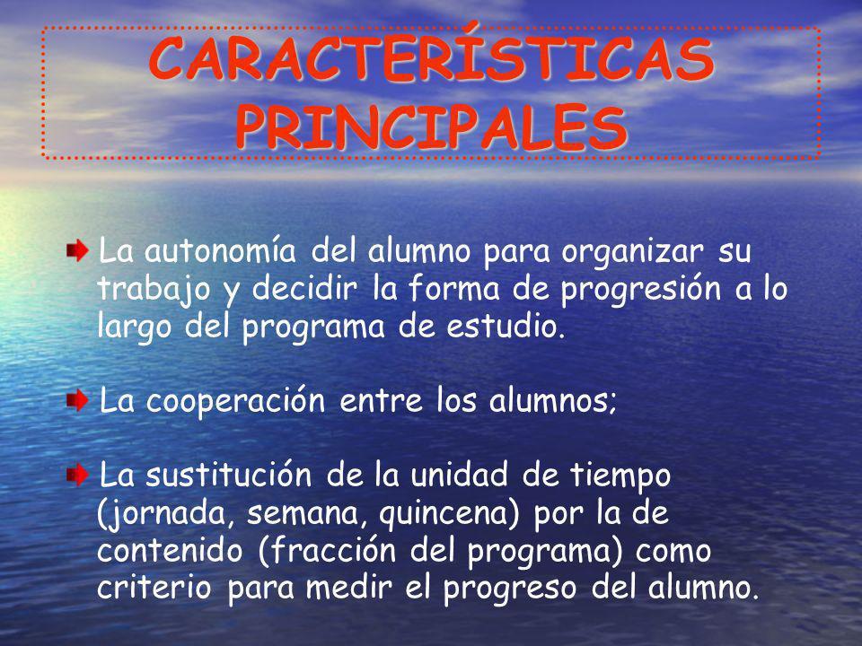 CARACTERÍSTICAS PRINCIPALES La autonomía del alumno para organizar su trabajo y decidir la forma de progresión a lo largo del programa de estudio. La