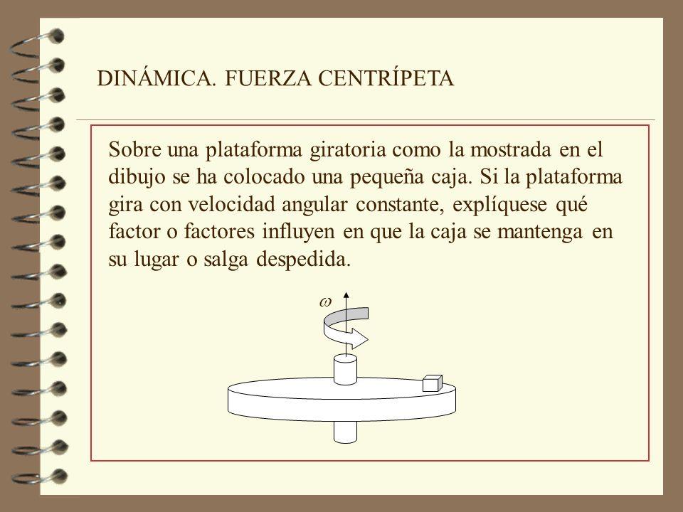 Para que la caja se mantenga en su lugar es preciso que gire alrededor del eje con la misma velocidad angular que la plataforma.
