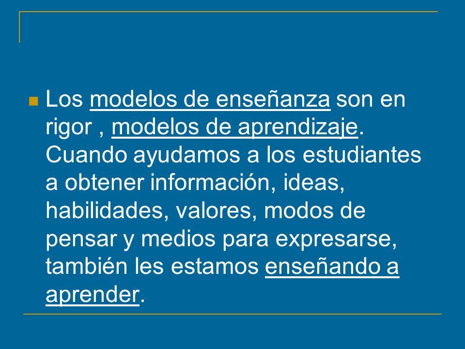 Los modelos de enseñanza son en rigor, modelos de aprendizaje. Cuando ayudamos a los estudiantes a obtener información, ideas, habilidades, valores, m