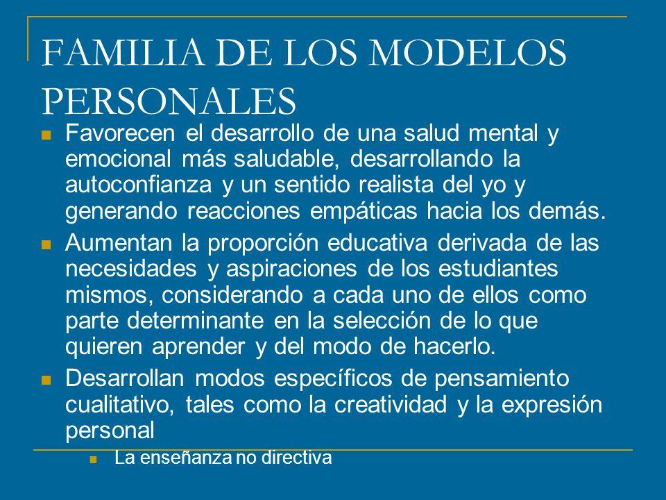 FAMILIA DE LOS MODELOS PERSONALES Favorecen el desarrollo de una salud mental y emocional más saludable, desarrollando la autoconfianza y un sentido r
