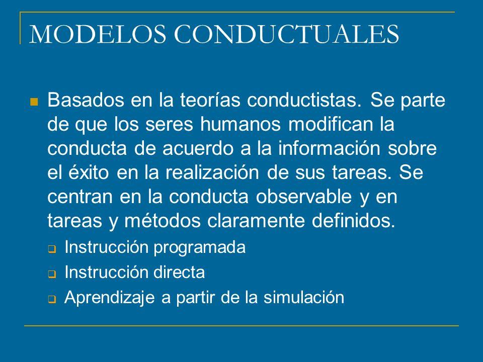 MODELOS CONDUCTUALES Basados en la teorías conductistas. Se parte de que los seres humanos modifican la conducta de acuerdo a la información sobre el