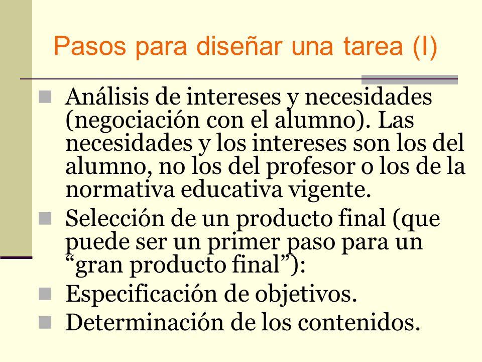 Pasos para diseñar una tarea (I) Análisis de intereses y necesidades (negociación con el alumno). Las necesidades y los intereses son los del alumno,