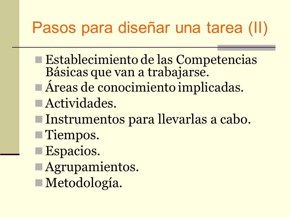 Pasos para diseñar una tarea (II) Establecimiento de las Competencias Básicas que van a trabajarse. Áreas de conocimiento implicadas. Actividades. Ins