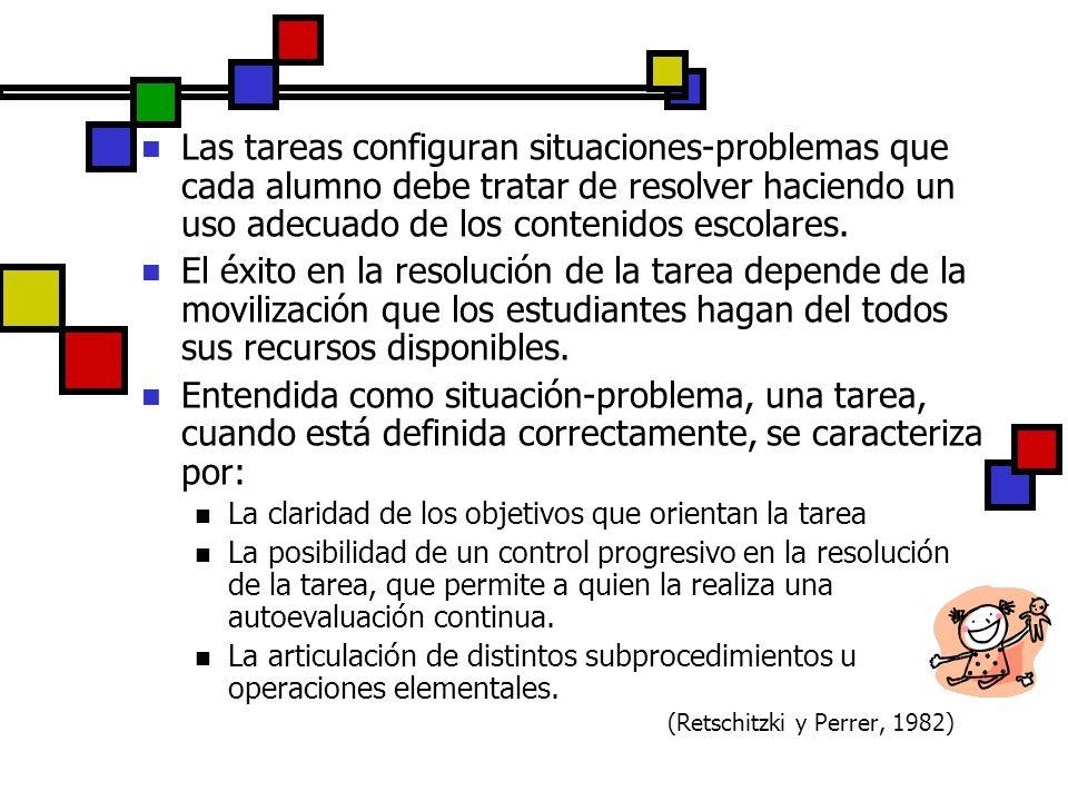 Las tareas configuran situaciones-problemas que cada alumno debe tratar de resolver haciendo un uso adecuado de los contenidos escolares. El éxito en