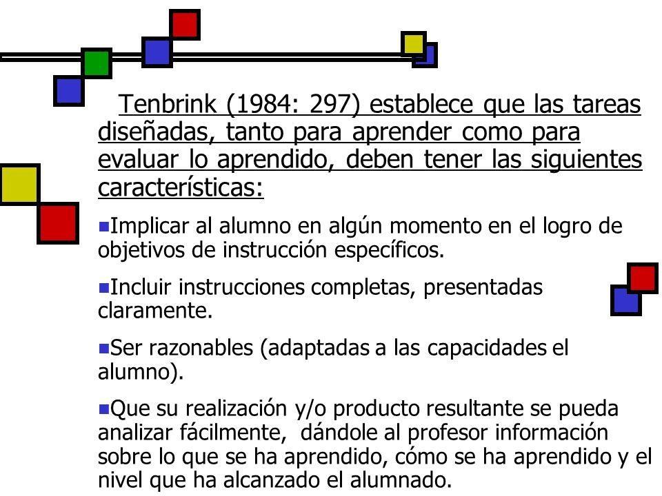 Tenbrink (1984: 297) establece que las tareas diseñadas, tanto para aprender como para evaluar lo aprendido, deben tener las siguientes característica