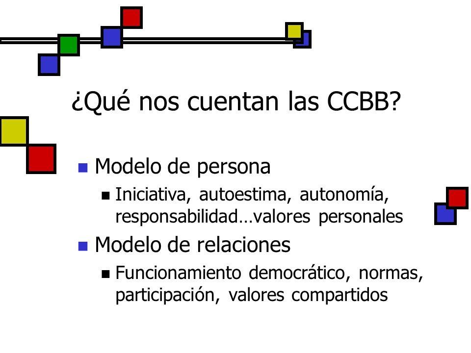 ¿Qué nos cuentan las CCBB? Modelo de persona Iniciativa, autoestima, autonomía, responsabilidad…valores personales Modelo de relaciones Funcionamiento