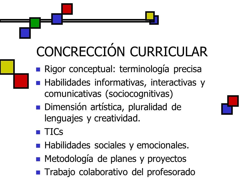CONCRECCIÓN CURRICULAR Rigor conceptual: terminología precisa Habilidades informativas, interactivas y comunicativas (sociocognitivas) Dimensión artís