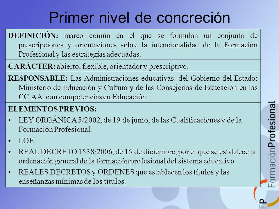 Primer nivel de concreción DEFINICIÓN: marco común en el que se formulan un conjunto de prescripciones y orientaciones sobre la intencionalidad de la
