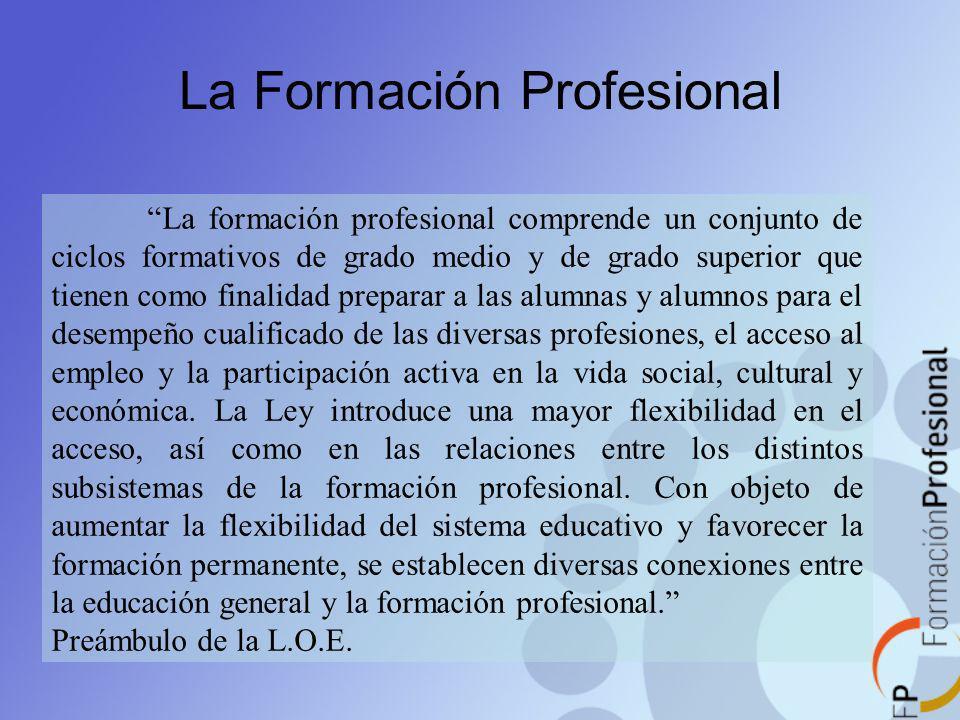 La Formación Profesional La formación profesional comprende un conjunto de ciclos formativos de grado medio y de grado superior que tienen como finali