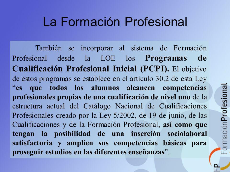 La Formación Profesional También se incorporar al sistema de Formación Profesional desde la LOE los Programas de Cualificación Profesional Inicial (PC