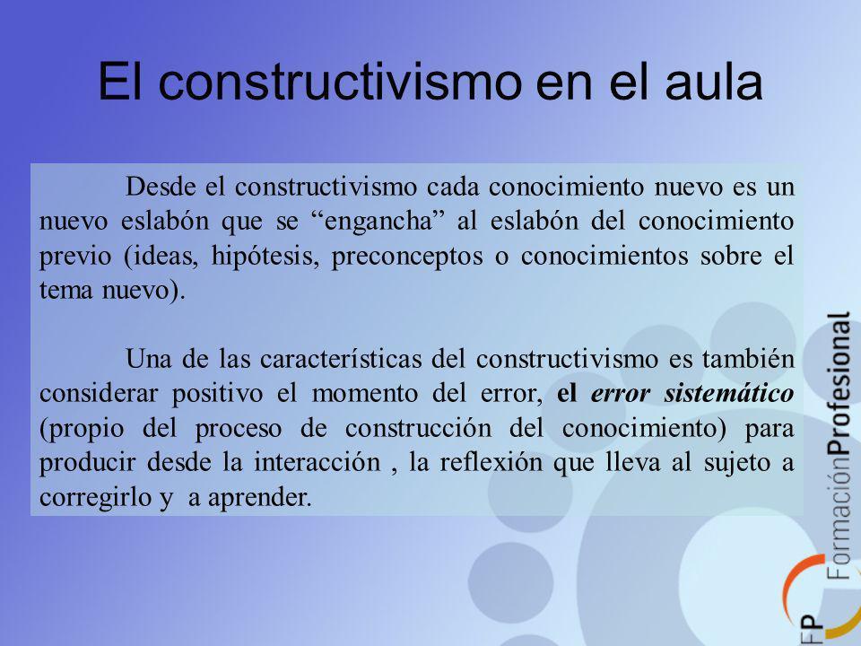El constructivismo en el aula Desde el constructivismo cada conocimiento nuevo es un nuevo eslabón que se engancha al eslabón del conocimiento previo
