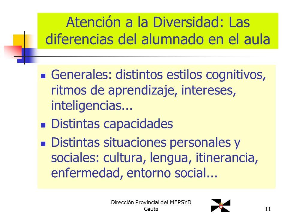 11 Atención a la Diversidad: Las diferencias del alumnado en el aula Generales: distintos estilos cognitivos, ritmos de aprendizaje, intereses, inteli