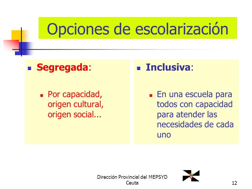 12 Opciones de escolarización Segregada: Por capacidad, origen cultural, origen social... Inclusiva: En una escuela para todos con capacidad para aten