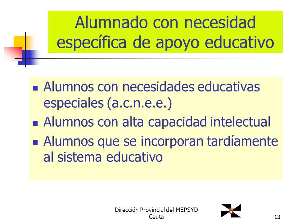 13 Alumnado con necesidad específica de apoyo educativo Alumnos con necesidades educativas especiales (a.c.n.e.e.) Alumnos con alta capacidad intelect