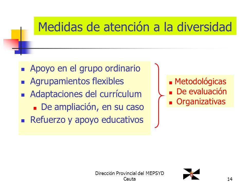 14 Medidas de atención a la diversidad Apoyo en el grupo ordinario Agrupamientos flexibles Adaptaciones del currículum De ampliación, en su caso Refue